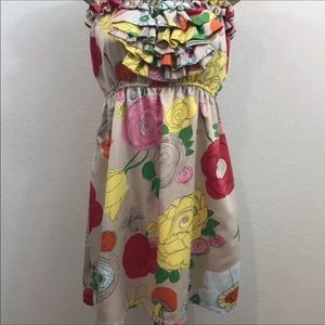 Judith March Strapless Ruffle Floral Dress Lined